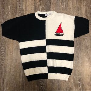 Vintage Nautical Striped Colorblock Boat Sweater